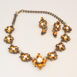 Swarovski Orange Pearl Necklace Set