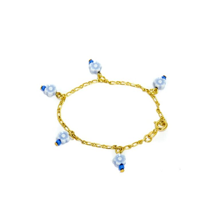 Bracelet kids blue flowers