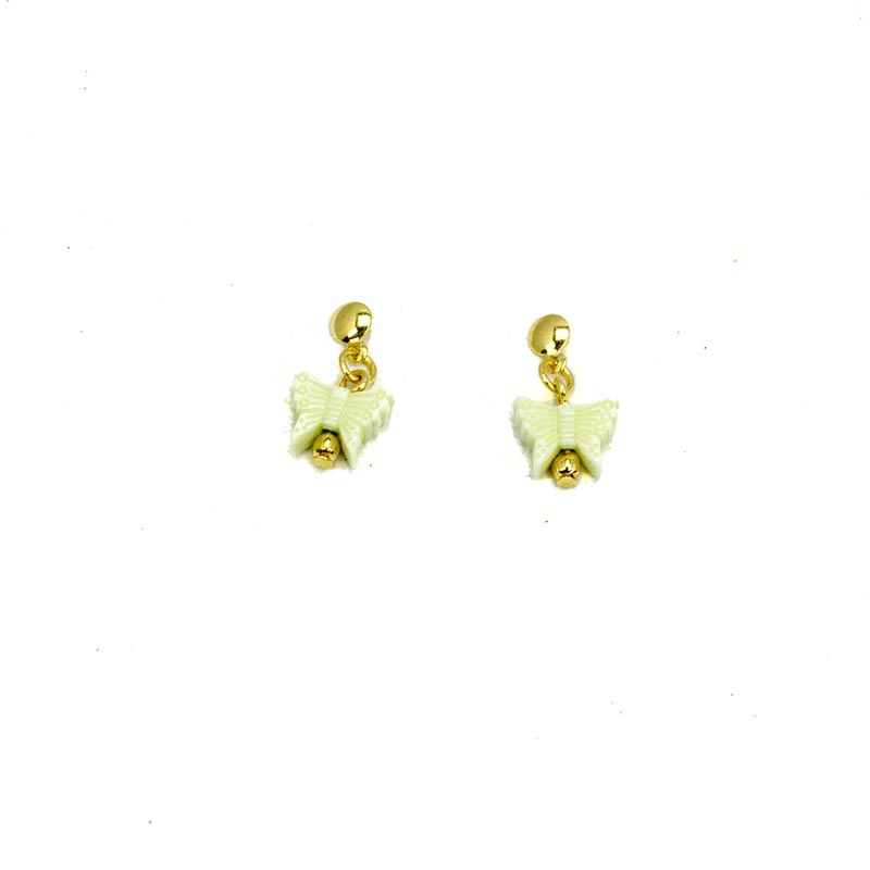 Green butterflies earrings gold plated