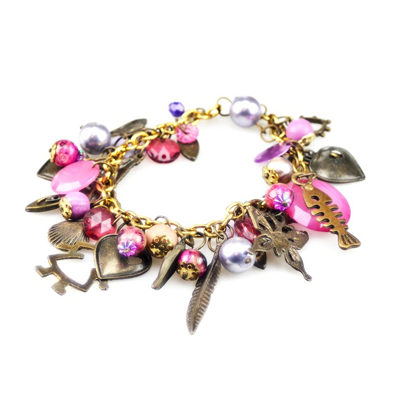 Pink Charm Bracelet many charms included