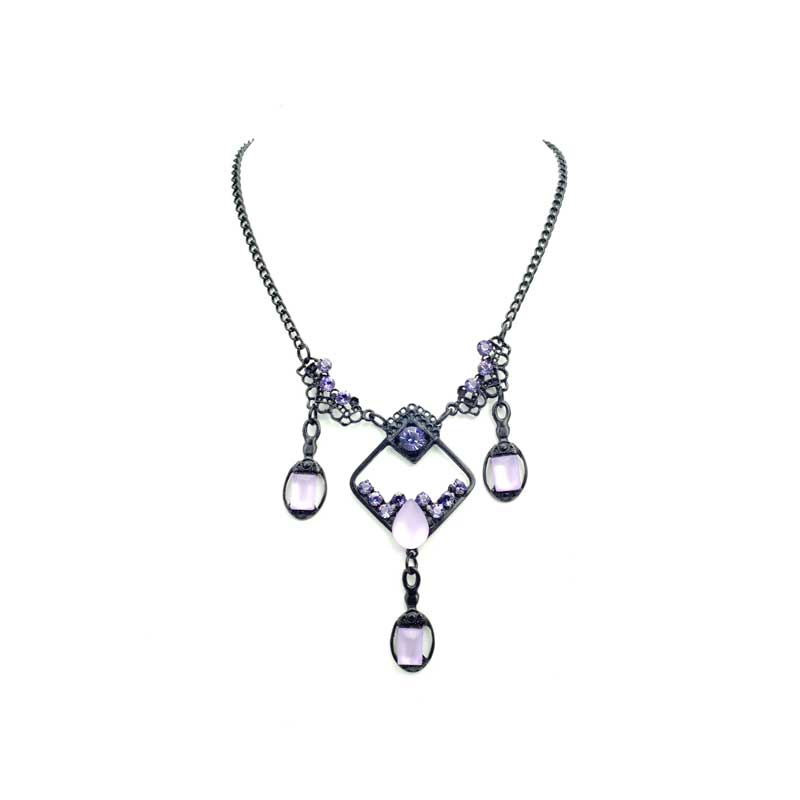 square purple necklace set with Swarovski
