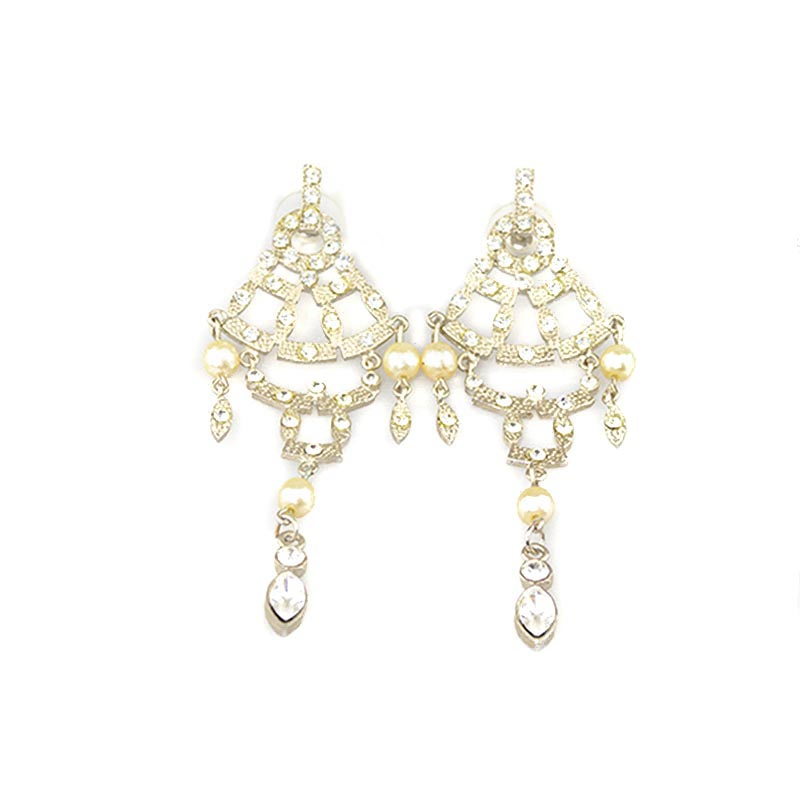 Moving Strass Earrings with pearl beads