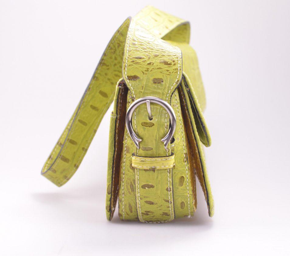 Croco handtas geel zijkant