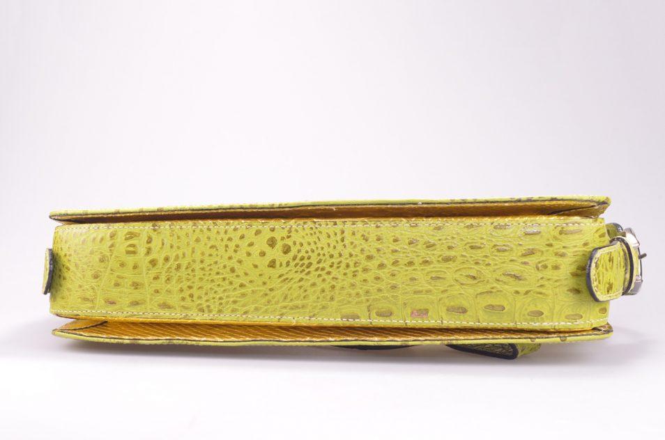 Croco handtas geel onderkant