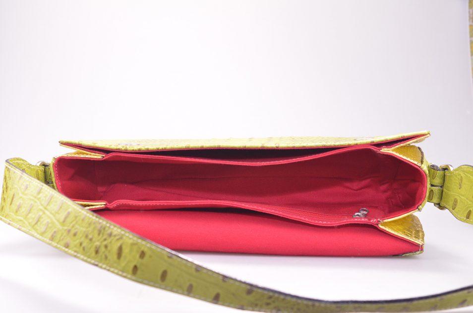 Croco handtas geel binnenkant