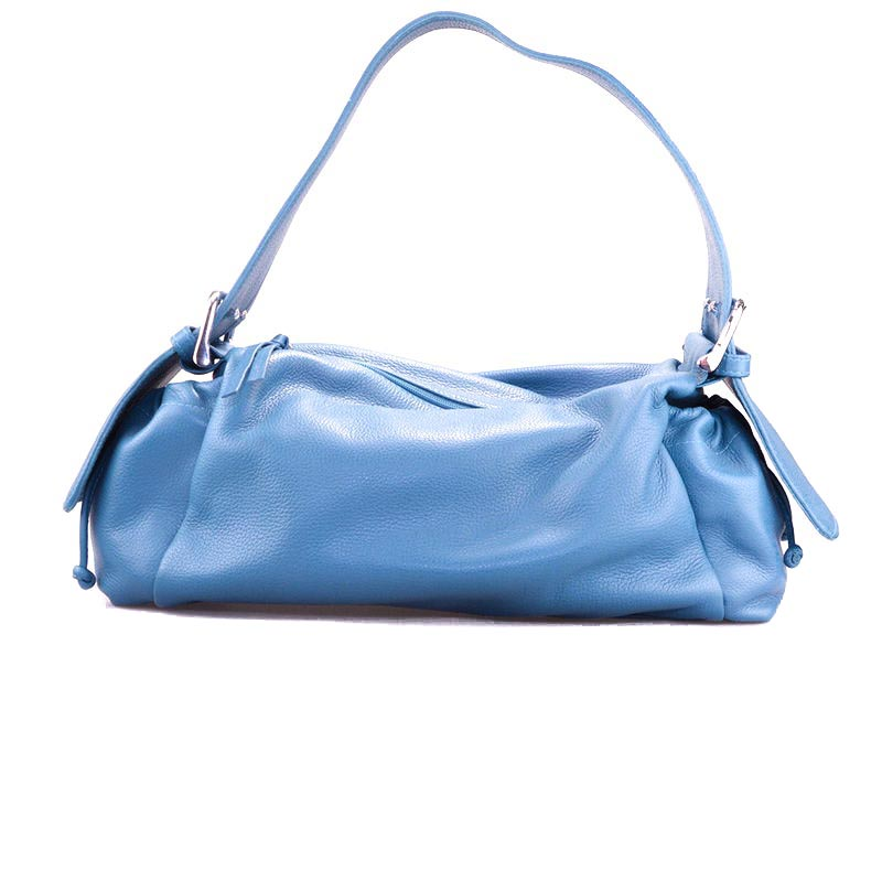 Blue leather handbag Baguette Bag