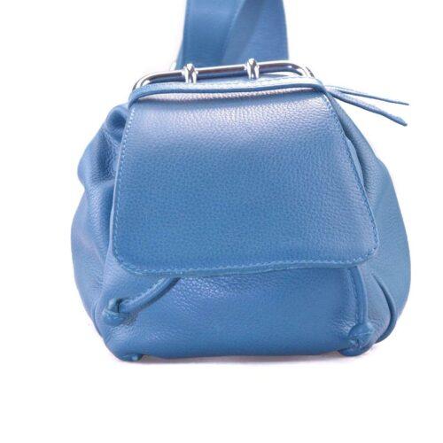 Petrol blauw handtas van leer