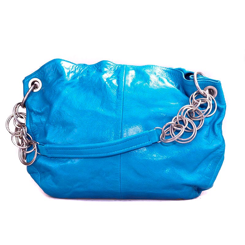 Blue Leather Handbag Halo - Genuine Leather