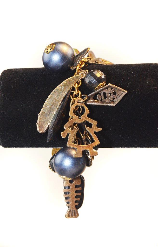 Armband blauw met bedels