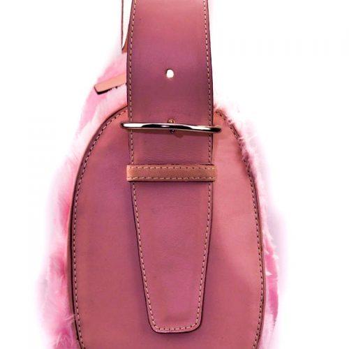 Pink faux fur pink bag leather straps