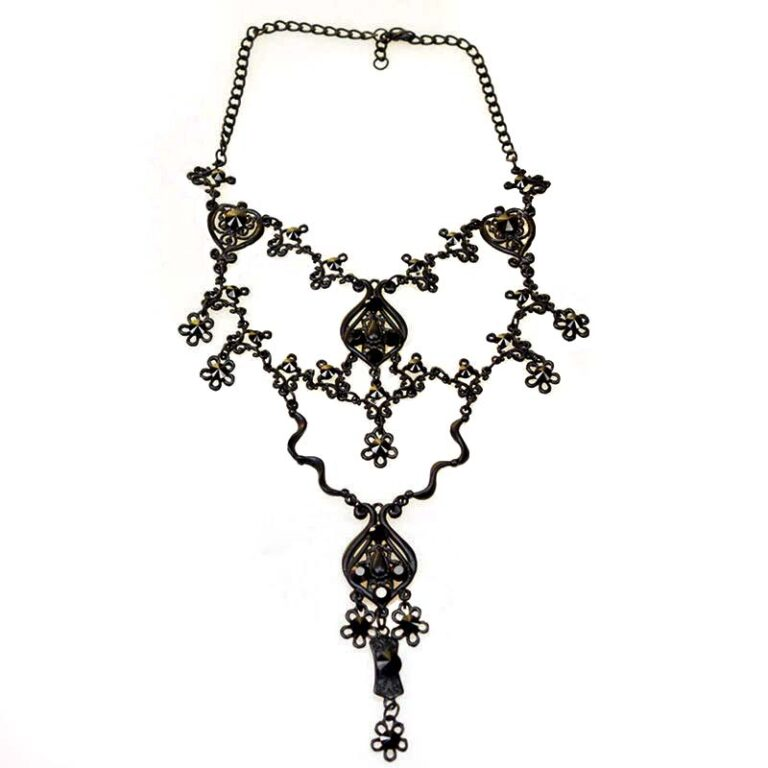 Gothic necklace jet black swarovski crystals
