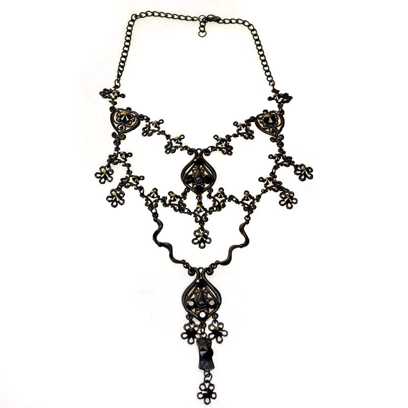 Gothic Necklace Black Swarovski Crystals