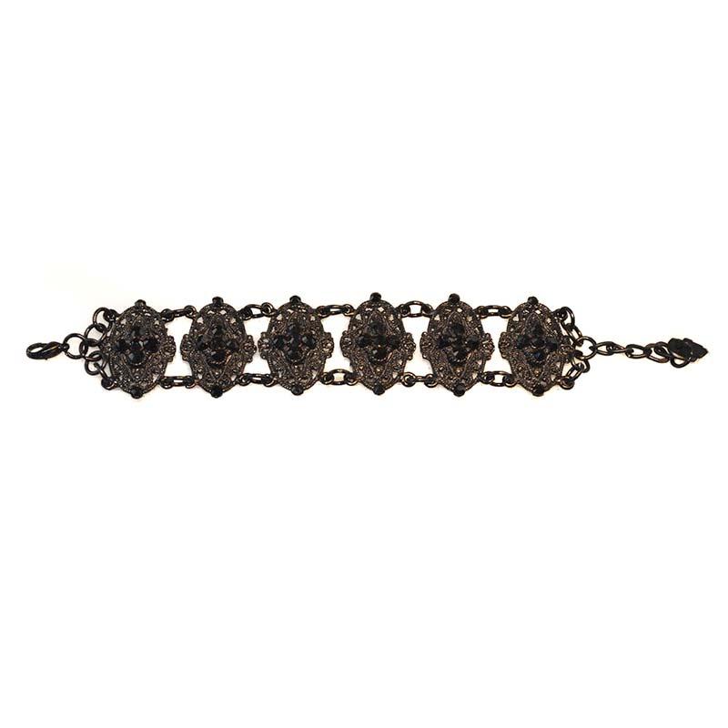Jet black bracelet Swarovski Crystals