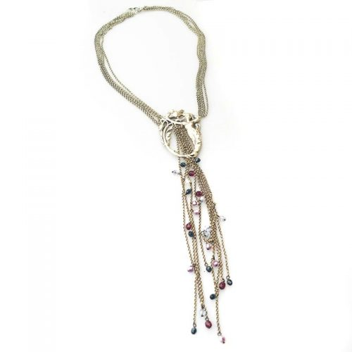 long necklace art nouveau necklace with beads silver