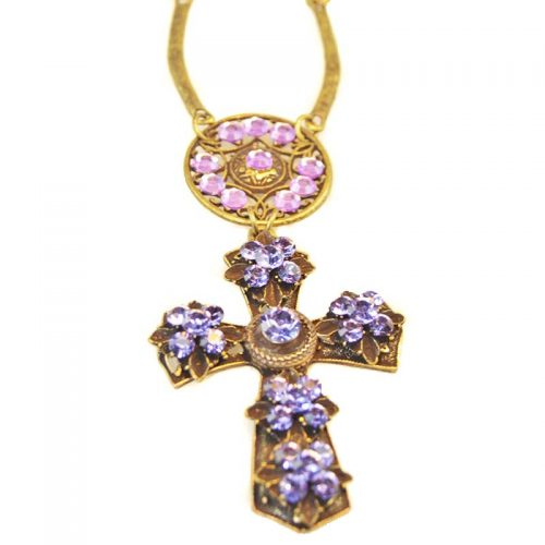 Necklace cross large with swarovski crystals