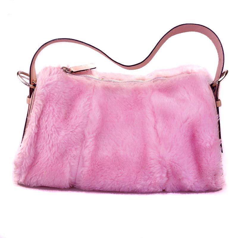 Pink faux fur bag with leather strap handbag fluffy