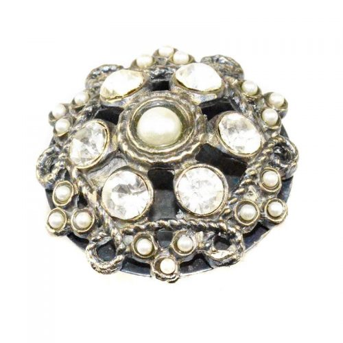 statement ring with pearls and crystals