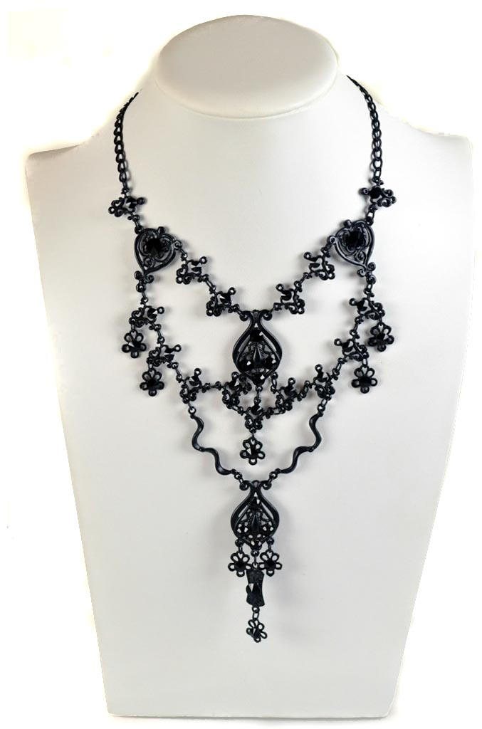 Swarovski jet black gothic necklace