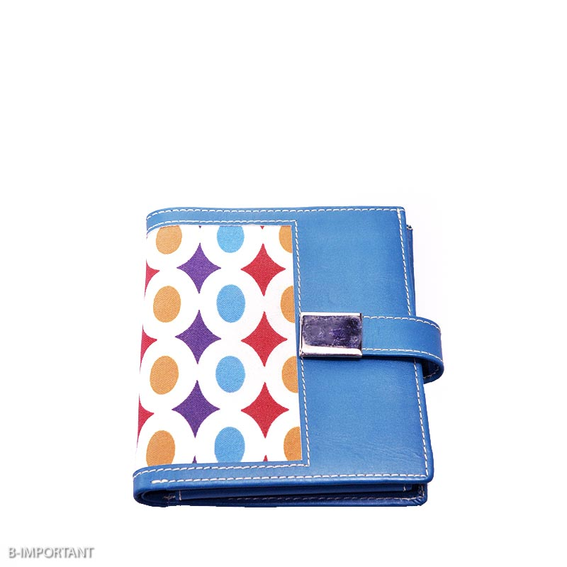 Blue Leather Wallet with colourful fabric