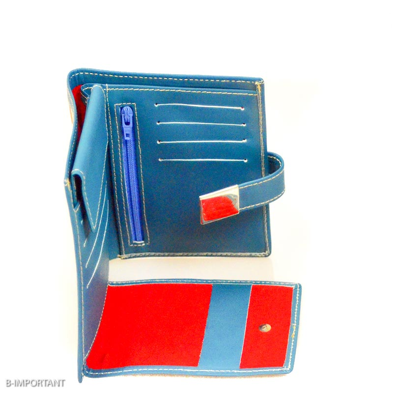 Blue leather wallet womens