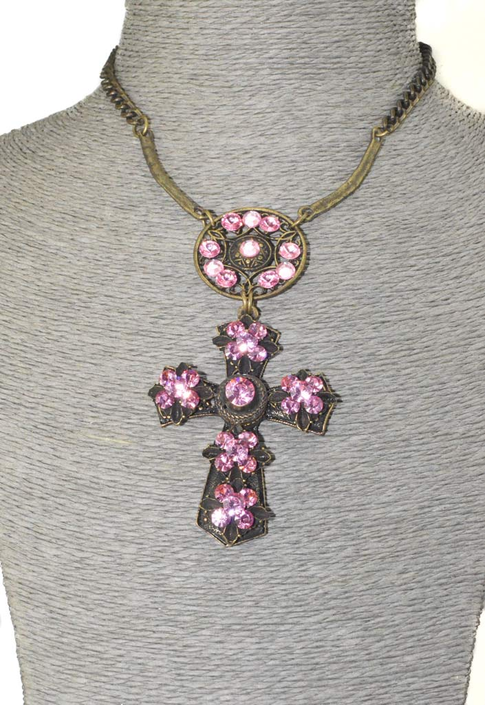 Cross necklace set with Crystals