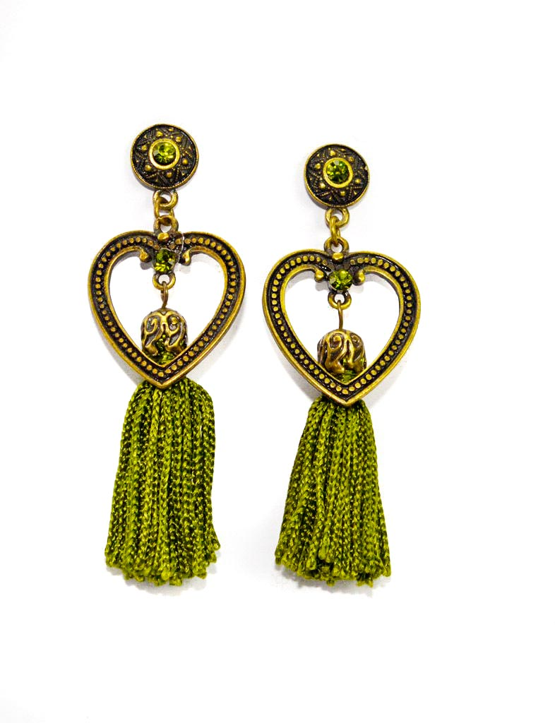 green tassel earrings with hearts crystals