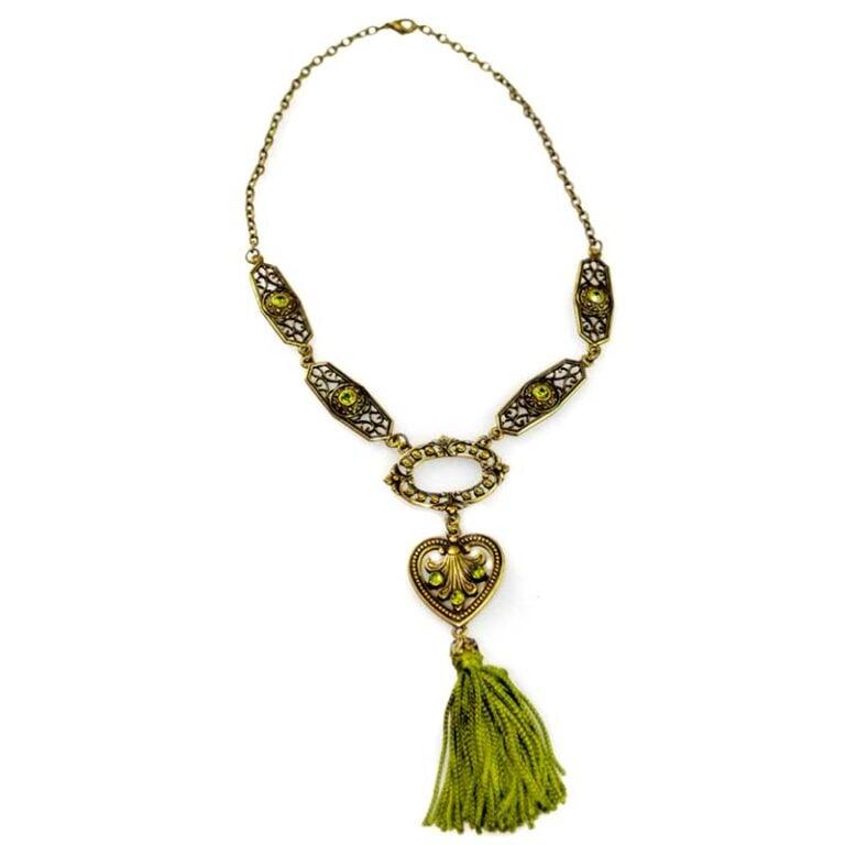 green tassel necklace set