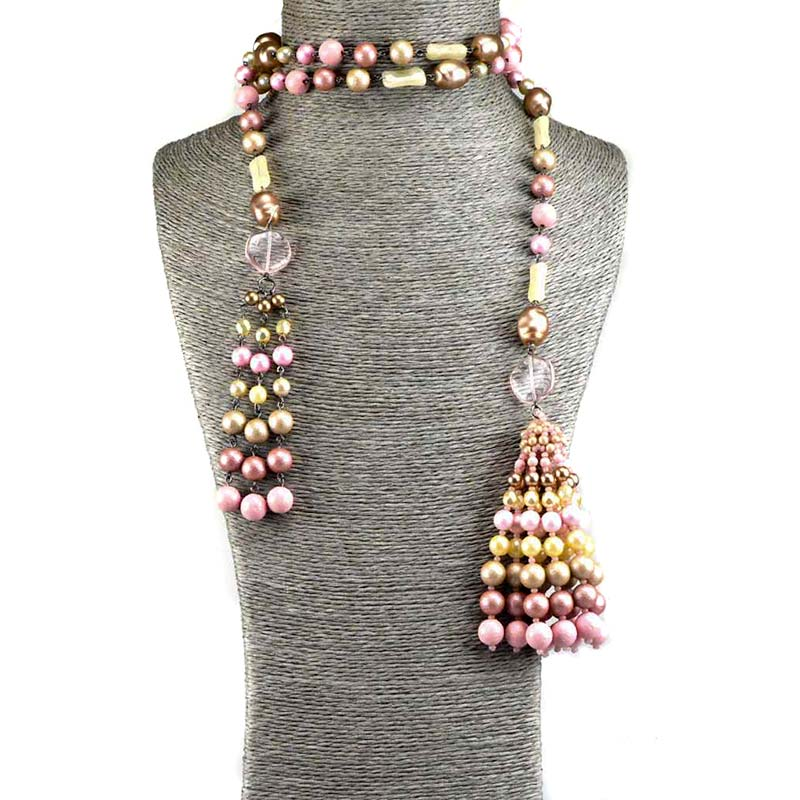 long tassel necklace sets with beads