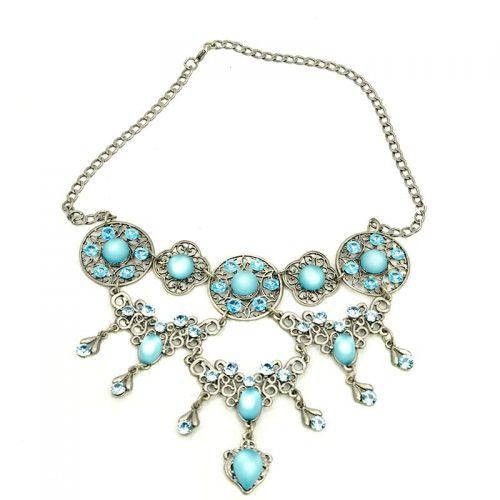 Blauwe kristallen ketting met oorbellen