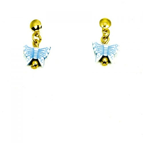 Blue butterfly earrings gold plated