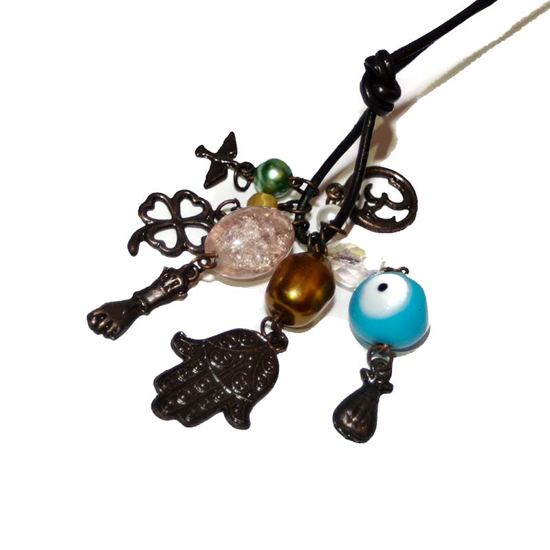 Necklace leather with fun charms