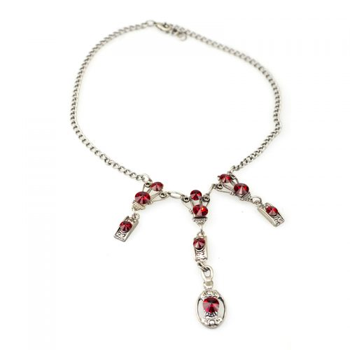 Necklace set art deco with earrings red