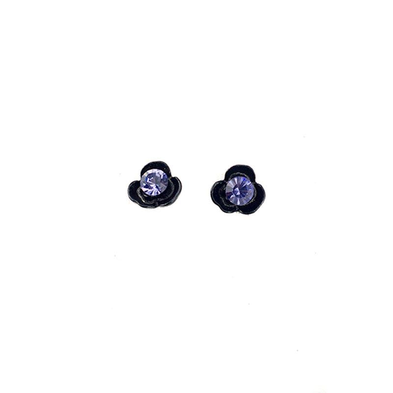 Black Flower Earrings with Swarovski Crystals