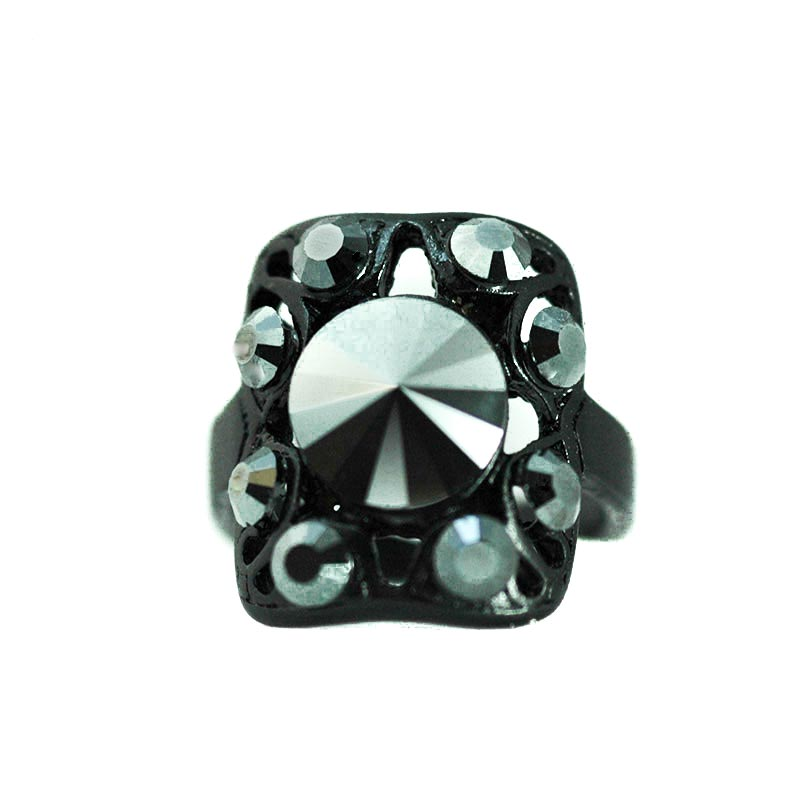 Jet Black Crystal Ring