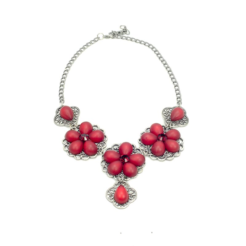 Flower Necklace set with Swarovski® Crystals