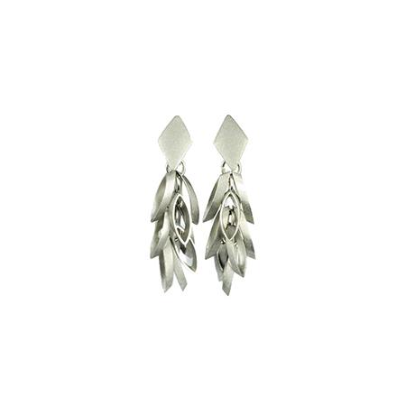 Zilver kleurige oorbellen vierkantjes