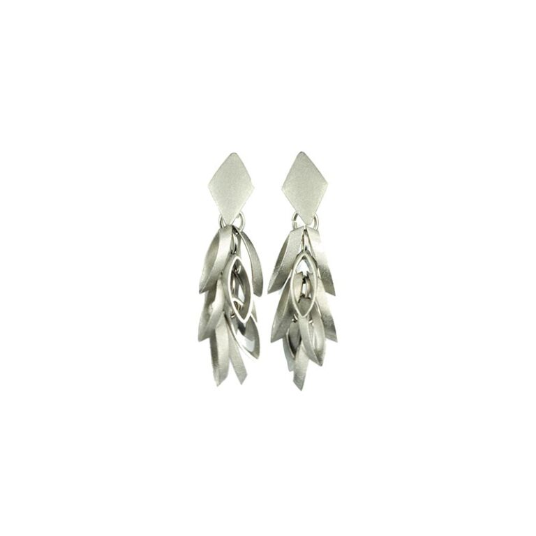 silver colored earrings with squares