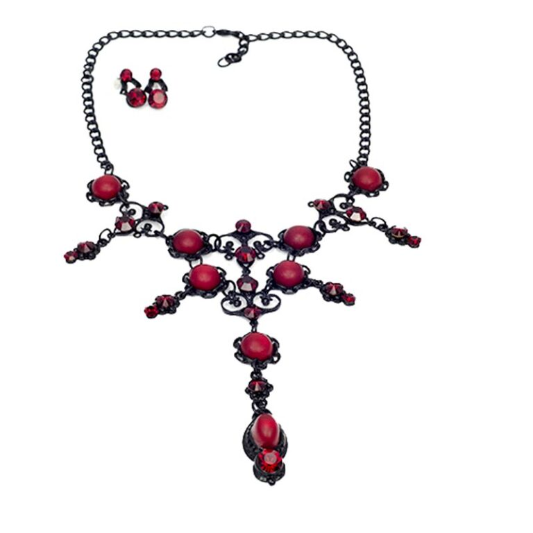 Baton Rouge Red Gothic Necklace Set