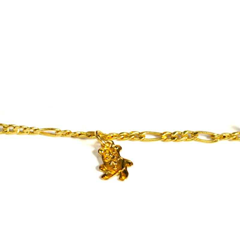 bear charm bracelet gold plated