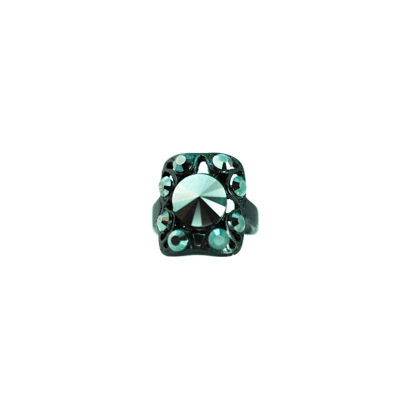 jet black gothic swarovsk crystal ring