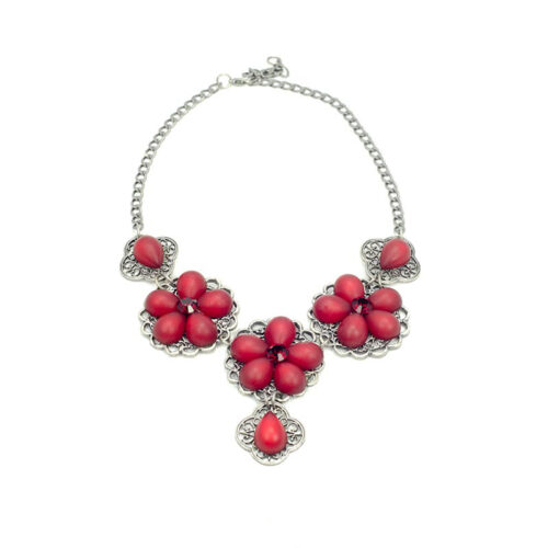red flower necklace set Swarovski Elements