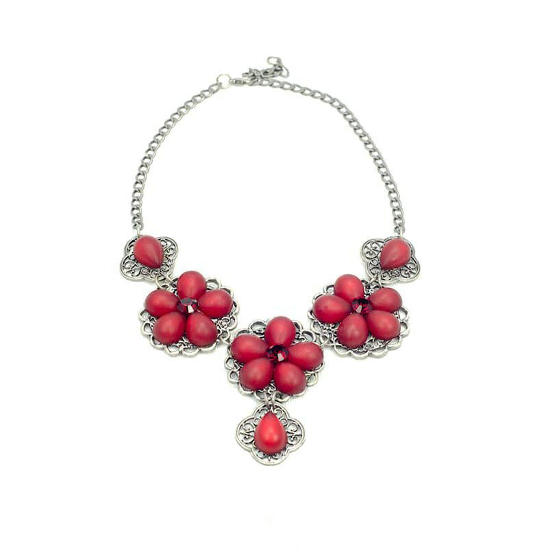 red flower necklace set Swarovski Elements