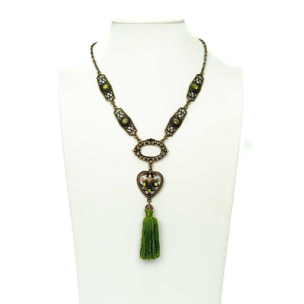 groene tassel sieradenset met oorbellen