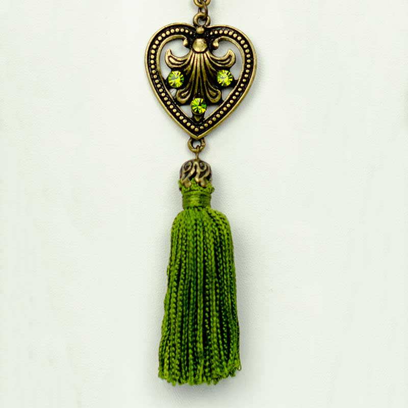 green tassel set detail