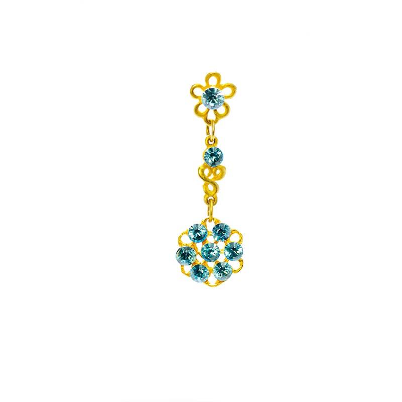 blue swarovskie gold colour 2 Goud Kleurige Oorbellen