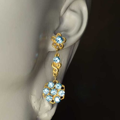 Blue Swarovski Pendant Earrings