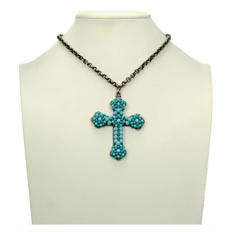 turquoise kruis ketting