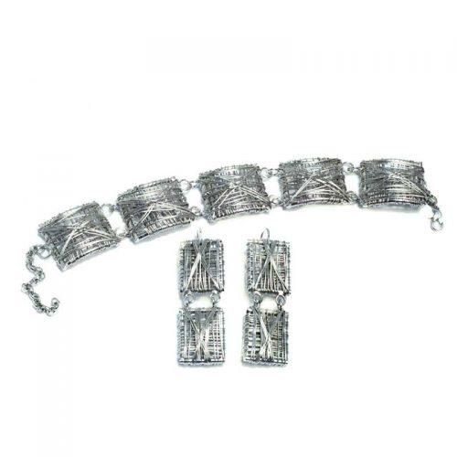 Verzilverde armbanden set
