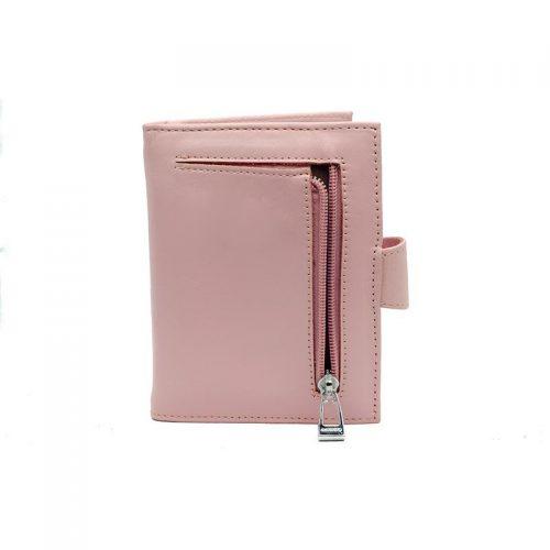 Lederen roze portemonnee achterkant