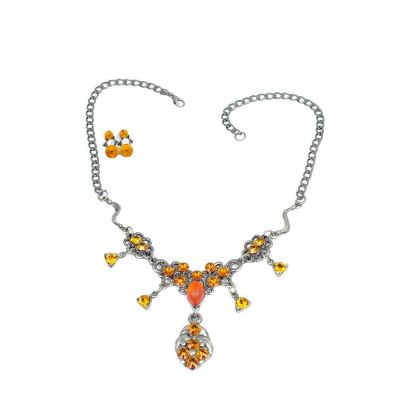medaillion swarovski necklace set Hanger met Swarovski Kristallen